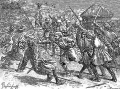 Les cosaques bousculant les Égraïs