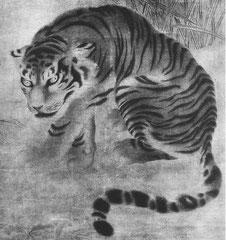 Un tigre. Auteur inconnu. XVIIIe ou XIXe siècle. Exécutée avec un réalisme très remarquable, cette peinture rappelle les tigres de l'artiste japonais Ganku ; toutefois la bête est ici plus solide et plus impressionnante.