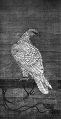 Aigle blanc perché. Anonyme. Dynastie Ming. Jadis attribué sans raison probantes, comme beaucoup d'autres peintures d'aigles et de faucons, à l'empereur Houei Ts'ong (XIe siècle) ; en fait, date certainement de l'époque Ming.