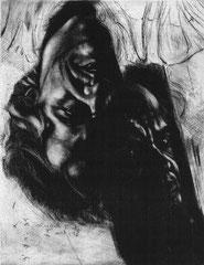 Selbstportrait 1989; Kaltnadel und Mezzotinto; II. Zustand