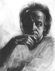 Selbstportrait 1984; Kaltnadel und Mezzotinto; IV. Zustand