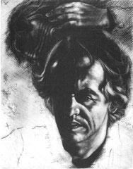 Selbstportrait 1986; Kaltrnadel und Mezzotinto; V. Zustand