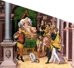 Humbert Mareschet (1548-1586) König Skiluros ermahnt seine Söhne 1584 Öl/Lw; HM Bern