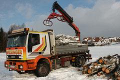 Zweiachser LKW mit Kran- und Holzzange