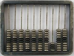 """Ejemplar de ábaco ruso """"schoty"""", 10 columnas, con columna para cuartos de rublo, 15x11 cm"""