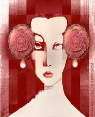 花の髪飾り (pink)//松岡晶子digital art(ドロー,ペイント,写真)