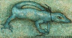 蝶結びの紐をつけている蜥蜴/松岡晶子/アクリル絵具、ペン