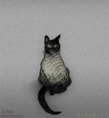 目つきの悪いネコ/松岡晶子/ボールペン,デジタルペイント