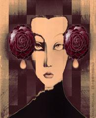 花の髪飾り(black)/松岡晶子digital art(ドロー,ペイント,写真)
