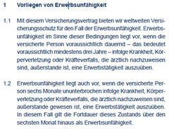 Auszug aus den Bedingungen zur Erwerbsunfähigkeitsversicherung der Continentale (Stand 9/2010)