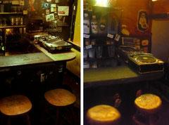 Detail aus dem Diorama der Egalbar (r.i.p.): DJ-Pult am Tresen. Foto: Barkeepers