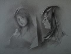 El espejo. Carboncillo y tiza sobre papel. 65X50