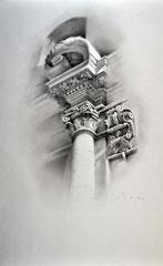 Detalle Pórtico Iglesia Santos Juanes (Valencia). Carboncillo sobre papel. 70X46