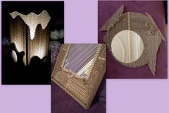 Lampe et miroirs en utilisant le carton dans le sens de l'épaisseur.