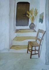 Mediterranean doorway, Acrylic on paper, 41 x 29