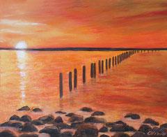 Sunrise over the ocean, Acrylic on canvas, 60x60