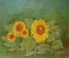 Sunflowers, green, Acrylic and mixed media on canvas, 38 x 46