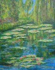 Water lily pond with weeping willow, Acrylic on canvas, 40 x 50