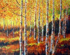 Birkenwald im Herbst, Acryl auf Leinwand, 40 x 50