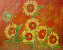 Sonnenblumen, orange, Acryl auf Leinwand, 40 x 50 - Verkauft