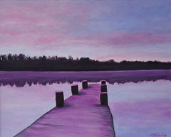 Boat bridge in the evening, Acrylic on canvas, 40 x 50 - Sold