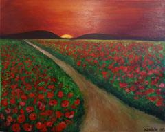 Mohnfelder in Abendsonne, Acryl auf Leinwand, 40 x 50