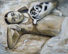 Frida Kahlo with cat, Acrylic on canvas, 50x40