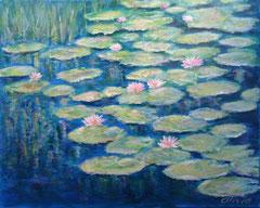 Seerosenteich, Acryl auf Leinwand, 40 x 50