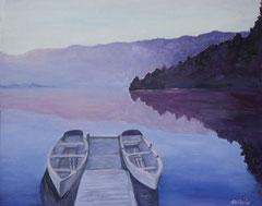 Bootssteg in der Morgendämmerung, Acryl auf Leinwand, 40 x 50 - Verkauft