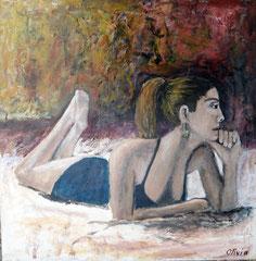 Tess, Acrylic & mixed media on palmwood, 60x60