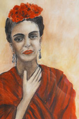 Frida Kahlo, Watercolor and acrylcs on paper, 40x30