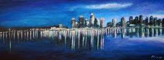 Citylights, Acryl auf Leinwand, 30x80
