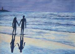 Walk on the beach, Acrylic on paper, 35 x 40