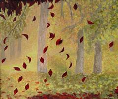 Fallende Herbstblätter, Acryl auf Leinwand, 38 x 46 - Verkauft