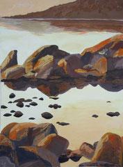 Spiegelungen im Wasser, Acryl auf Papier, 40 x 30