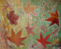 Herbstblätter, Acryl, Gips und getrocknete Blätter auf Leinwand, 38x46