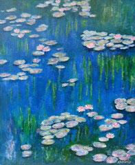 Seerosen blau, Acryl auf Leinwand, 55 x 46 - Verkauft