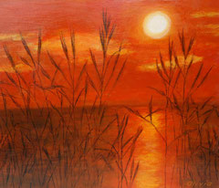 Sunset with reeds, Acrylic on canvas, 38 x 46 - Sold