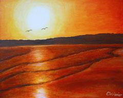 Möwen am Horizont, Acryl auf Leinwand, 40x50