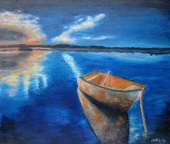 Spiegelungen im Wasser, Acryl auf Leinwand, 46 x 55