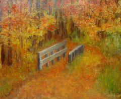 Herbstwald mit Brücke, Oel auf Leinwand, 38x46