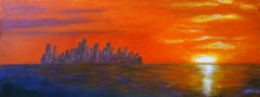 Skyline with sunset, Acrylics on canvas, 30x80