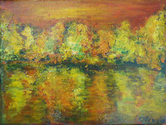 Hebtswald am Fluss, Oel auf Leinwand, 25 x 32