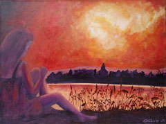 Sunset by the lake, Acrylic on canvas, 30 x 40 - Sold