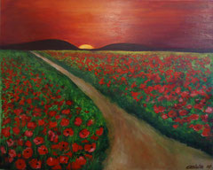 Poppy fields at sunset, Acrylic on canvas, 40 x 50
