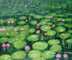 Water lilies, green, Acrylic on canvas, 38 x 46