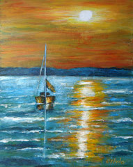 Boat in sunset, Acrylics on canvas, 41 x 33