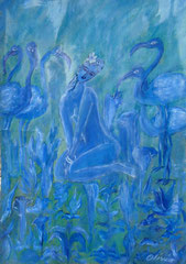 Blue Paradise, oils on special treated paper, 33x48 - Sold