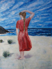 Girl walking on beach, Acrylic on canvas, 40 x 30