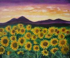 Sonnenblumenfeld, Acryl auf Leinwand, 38x46